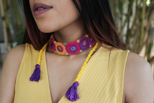 Hand embroidered choker