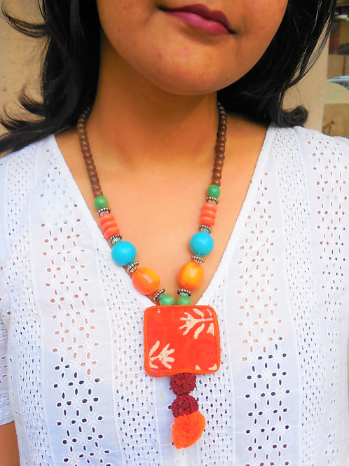 Handmade bohemian necklace with pom pom
