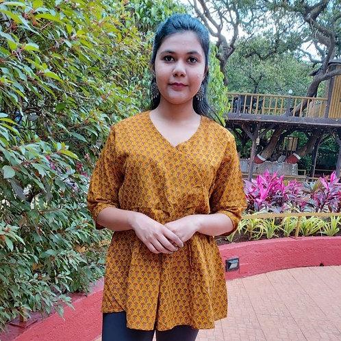 Ananda Block printed Angrakha Top