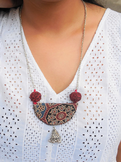 Ajrakh handmade necklace with rudraksh beads