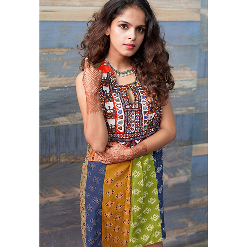 Adya Patchwork dress with Kachchh Embroidery