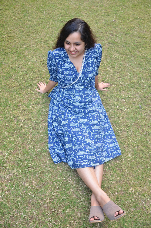Matsya block printed wrap dress with hand embroidery