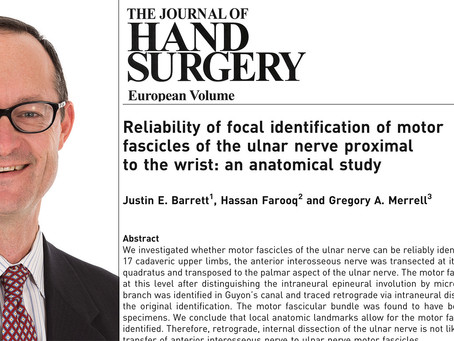 Gregory A. Merrell, MD Published in Journal of Hand Surgery