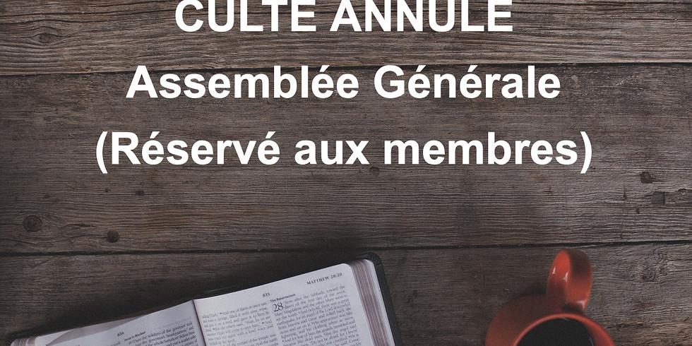 PAS DE CULTE - 9H30 (Assemblée Générale)