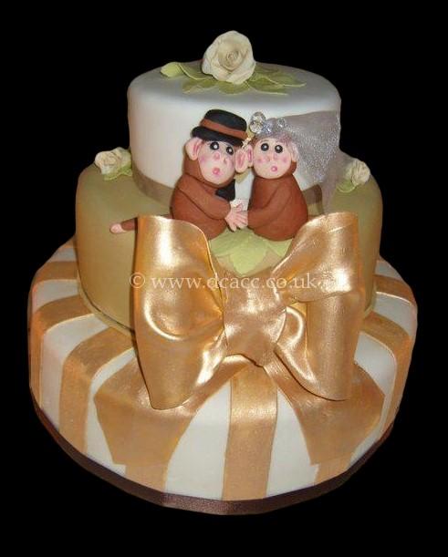 Monkey Gold And Green Wedding Cake Jpg