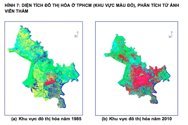 Urbanized areas in Ho Chi Minh City (Red areas) in 1985 (a) and in 2010 (b)