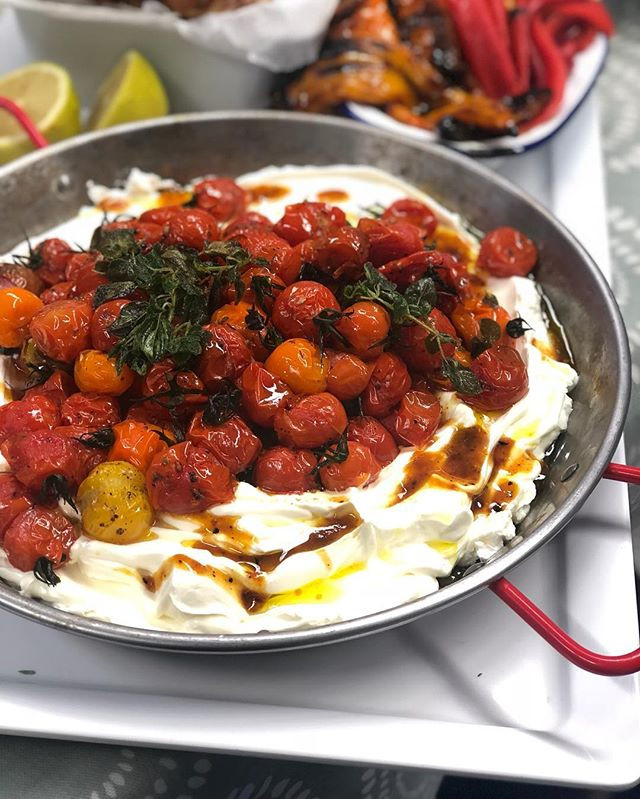 Hot tomatoes and labneh - a great additi