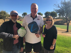 Bill Miller with new Pickleballers, Jim and Sandy (2019)