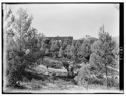 صورة للمستشفى وفي الخلفية قلعة عجلون