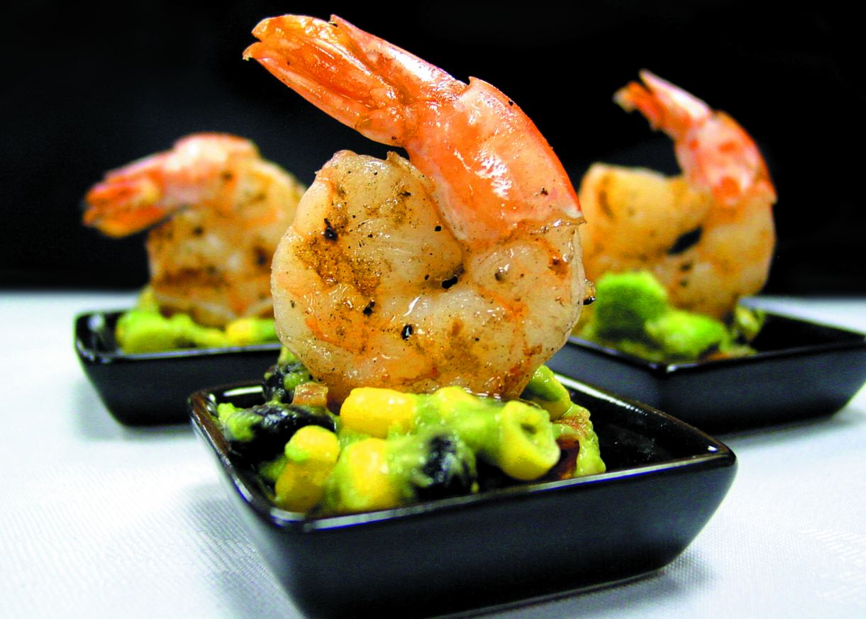 shrimp an corn and alvocado
