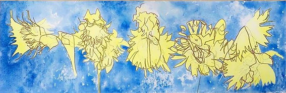 Blind Contour Sunflower and Cone Flower