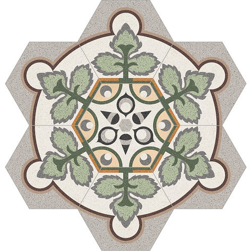 Hexagon Medallion Cement Tile