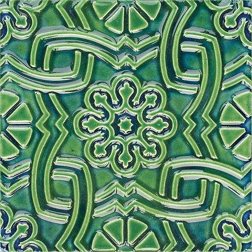 Art Nouveau Green Ceramic Tile