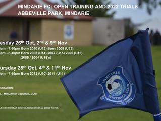Mindarie FC 2022 Junior Trials
