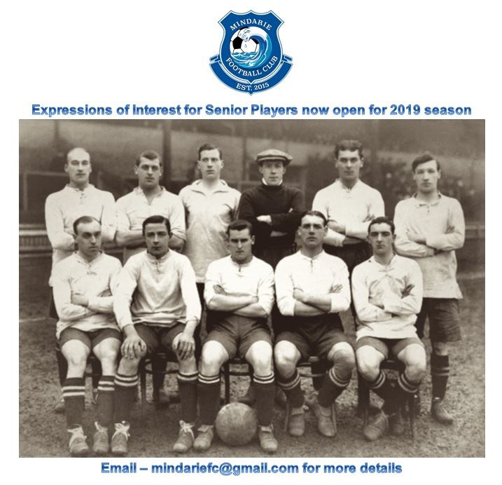 Expressions of interest now open for 2019 seniors.  Please email club for more details:  mindariefc@gmail.com