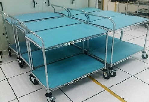 Trolley with handle and ESD mat