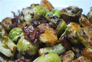 A quick saute of brussel sprouts in bacon or in oilive oil