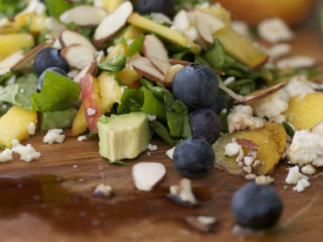 Peach and Blueberry Salad with Blue Cheese