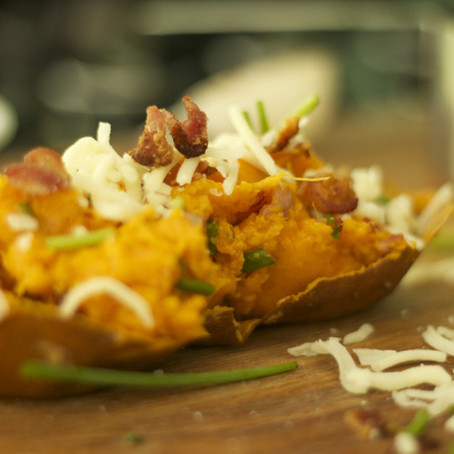 'little boy friendly' Twice Baked Sweet Potatoes