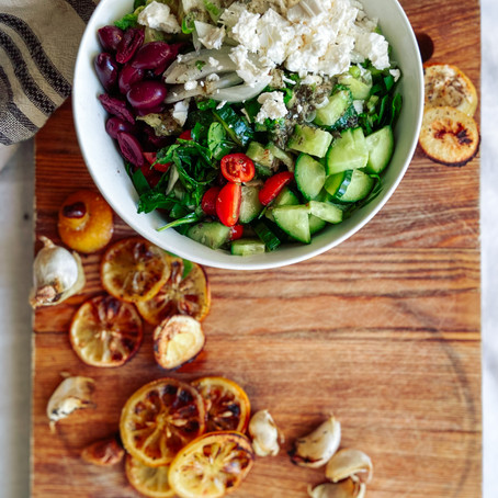 Lemon-y Greek Salad+Dressing