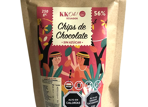 Chips de chocolate sin azucar 56%