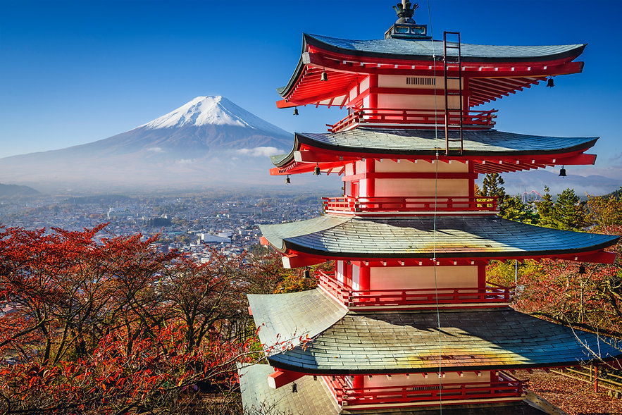 Mt. Fuji and Pagoda during the fall in J