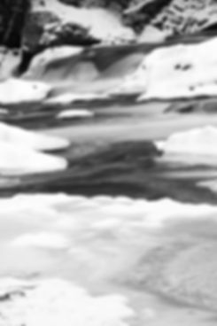 Black and white icy river
