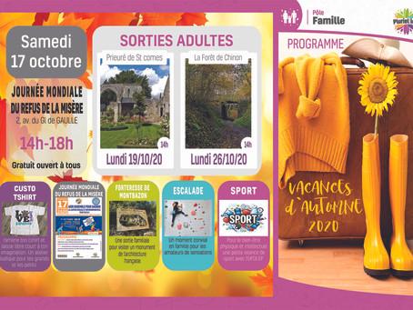 PROGRAMME DES SORTIES FAMILLE DES VACANCES D'AUTOMNE