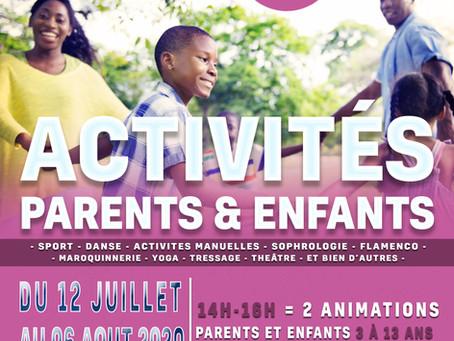 Activités parents/enfants dans la cour de l'école Claude Bernard