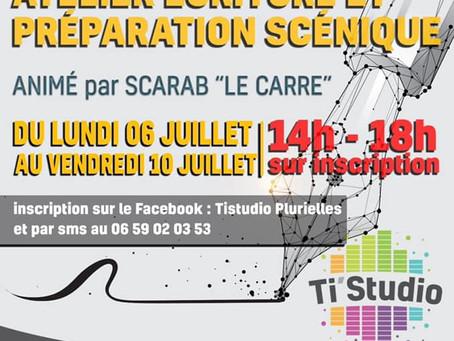L'ATELIER D'ECRITURE ET PREPARATION SCENIQUE  AU TI STUDIO DU LUNDI 6 JUILLET AU VENDREDI 10 JUILLET