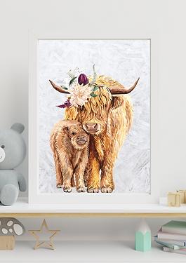 Nursery Highland cow Wall art