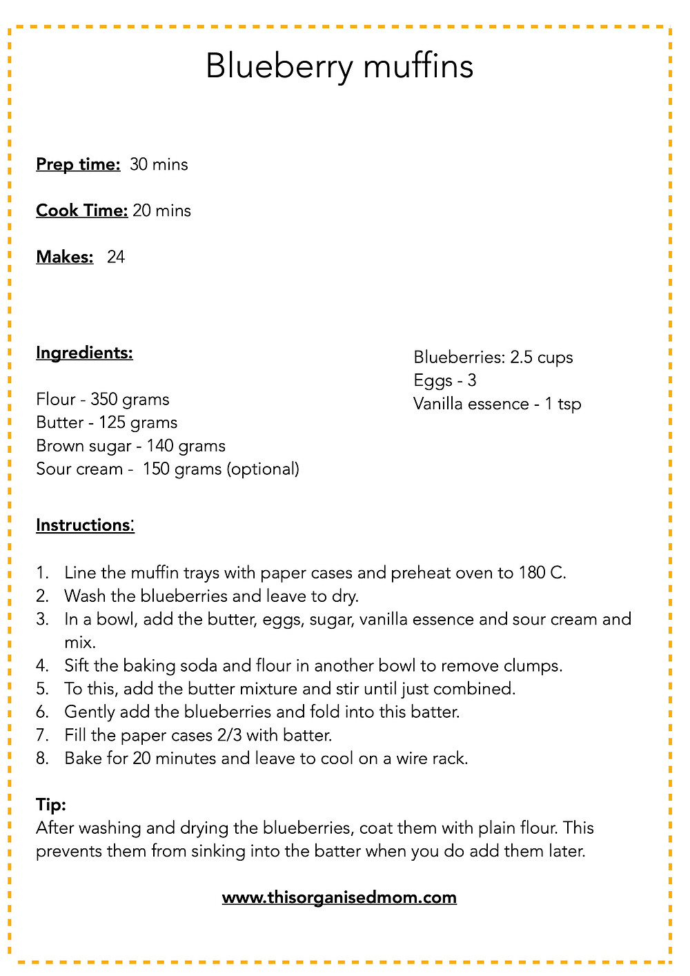 Easy Blueberry Muffins free printable