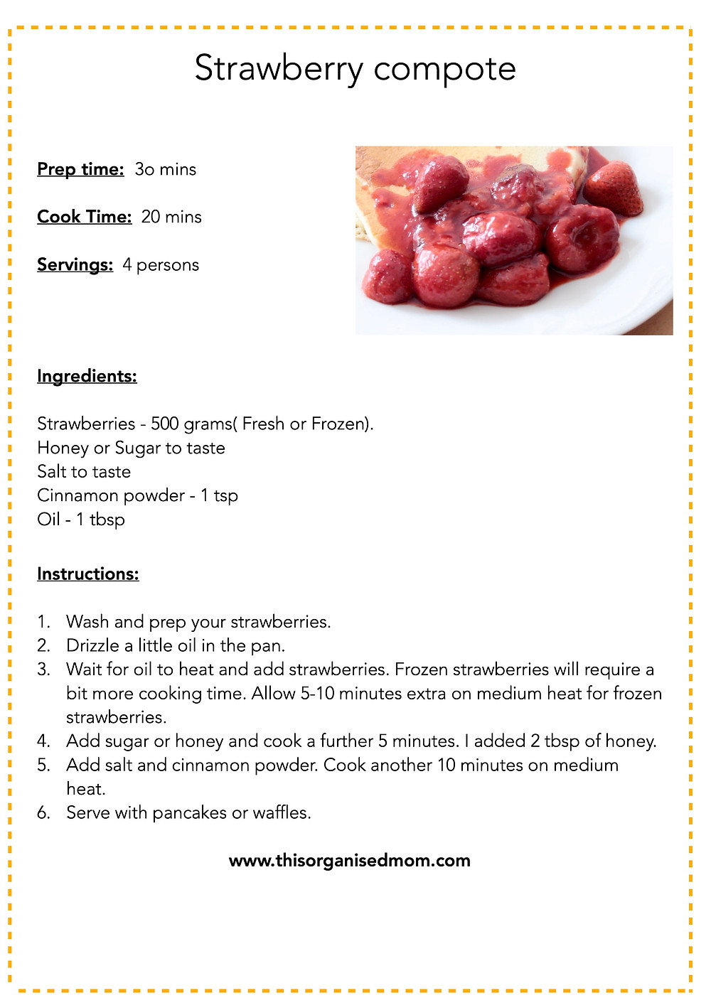 Strawberry compote free printable
