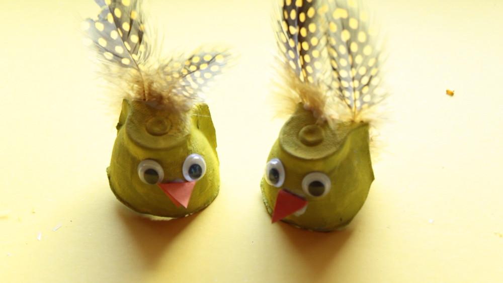 yellow egg carton chicks