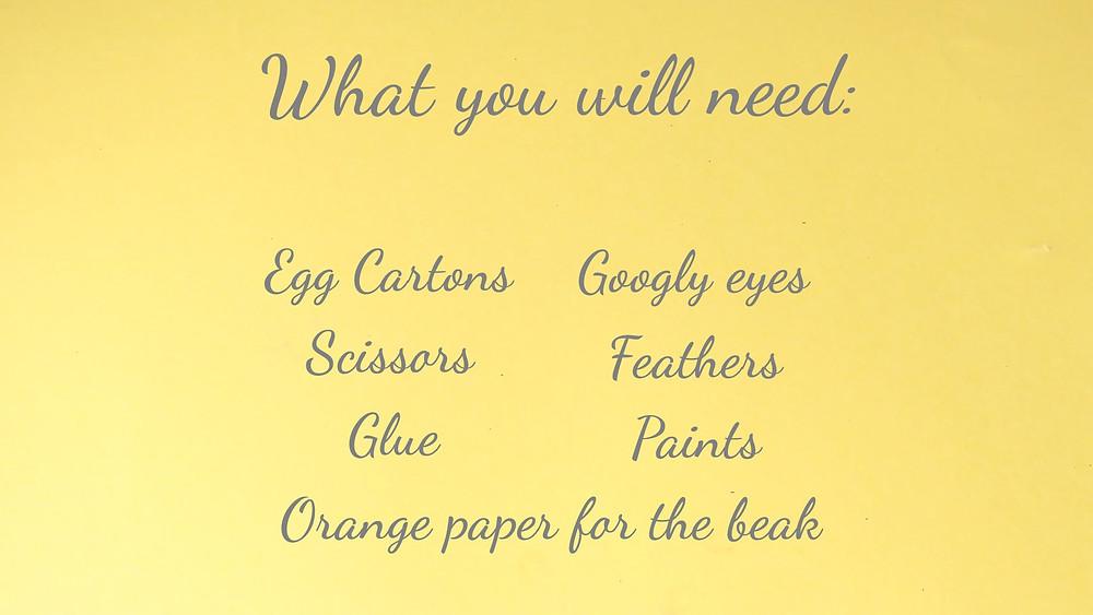 materials for egg carton chicks