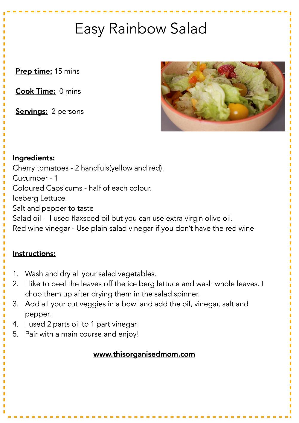 Printable salad recipe