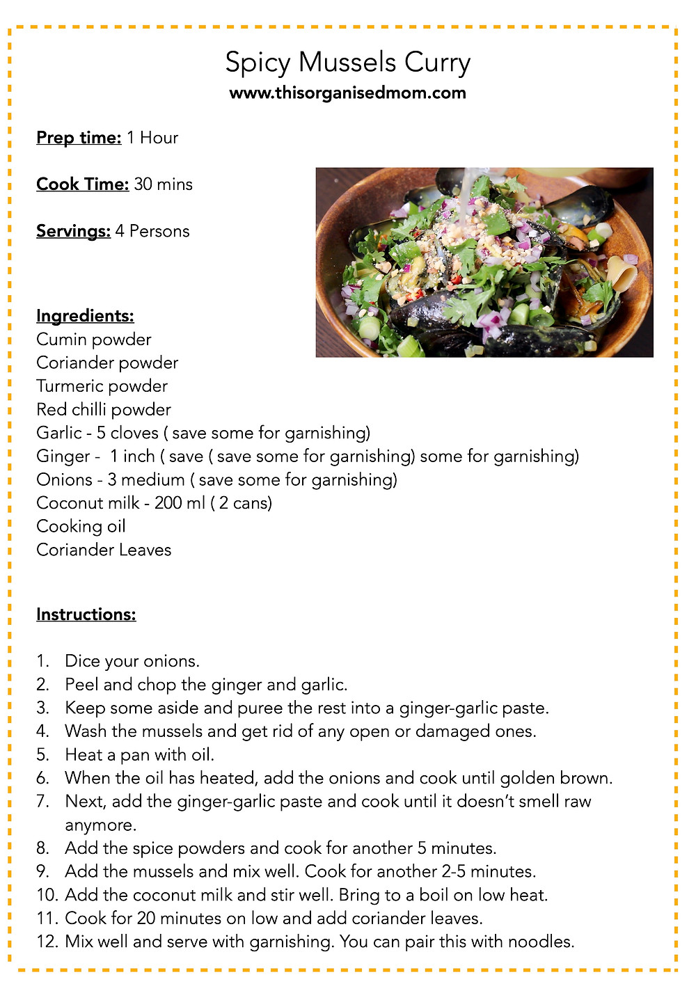 Mussel Curry Free printable recipe