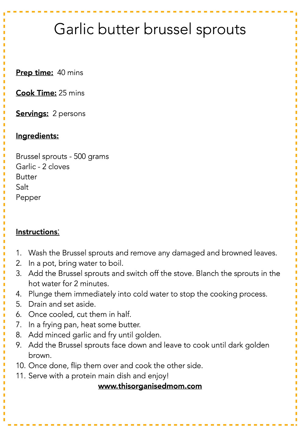 Garlic butter brussel sprouts free printable
