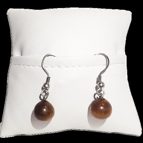Boucle d'oreille perle en bois de tamarin