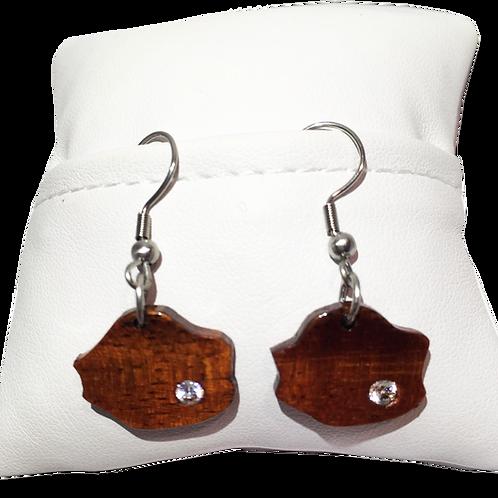 Boucles d'oreilles carte de la Réunion en tamarin