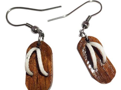 Boucle d'oreille savate blanche en tamarin