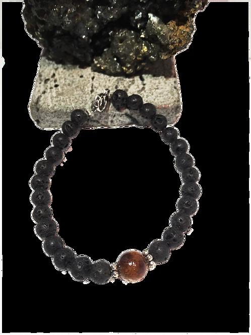 Bracelet de lave diamètre 6 avec une perle en bois de tamarin.