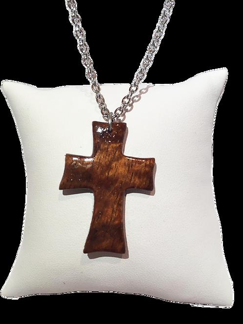 Pendentif croix bois de tamarin