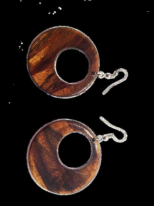 Boucle d'oreille créole en bois de tamarin