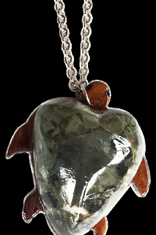 Tortue en roche de rivière, support en bois de tamarin