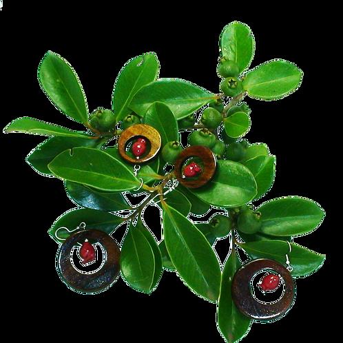 Grosses boucles d'oreilles créoles en tamarin et goyaviers