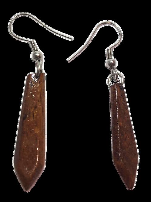 Boucle d'oreille longue en bois de tamarin