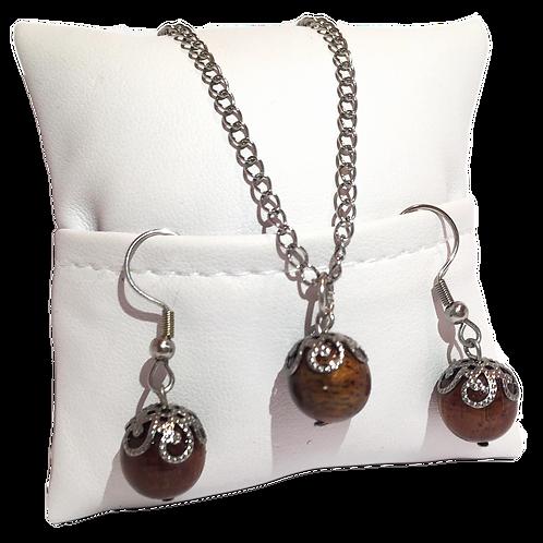 Parure perle en bois de tamarin avec coupole