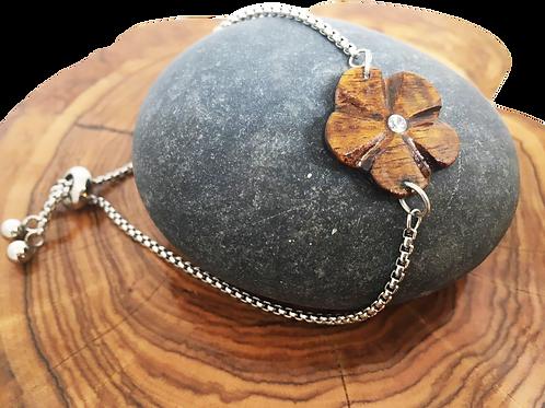 Bracelet fleur en bois de tamarin