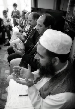 Prayers and duahs during a Muslim Nikkah ceremony in Bradford